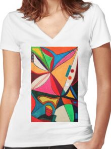 Fruit box Art - geometric abstract no 1 of 4 Women's Fitted V-Neck T-Shirt
