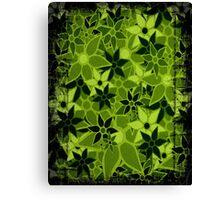 Green Vintage Trendy Floral Pattern Canvas Print