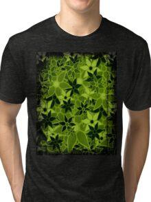 Green Vintage Trendy Floral Pattern Tri-blend T-Shirt