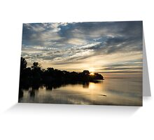 Pale Gold Sunrays - A Cloudy Sunrise with Two Ducks Greeting Card