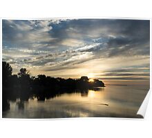 Pale Gold Sunrays - A Cloudy Sunrise with Two Ducks Poster
