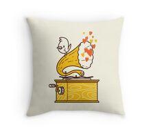 Phonograph and the Bird Throw Pillow