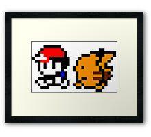 Shiny 8-bit Ash and Pikachu Framed Print