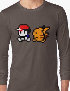 Shiny 8-bit Ash and Pikachu Long Sleeve T-Shirt