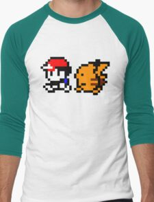 Shiny 8-bit Ash and Pikachu Men's Baseball ¾ T-Shirt