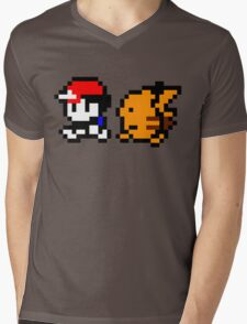 Shiny 8-bit Ash and Pikachu Mens V-Neck T-Shirt