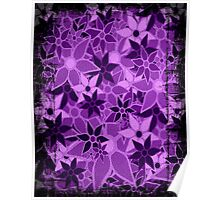 Purple Vintage Trendy Floral Pattern Poster