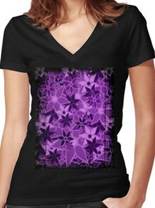 Purple Vintage Trendy Floral Pattern Women's Fitted V-Neck T-Shirt