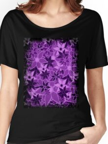 Purple Vintage Trendy Floral Pattern Women's Relaxed Fit T-Shirt