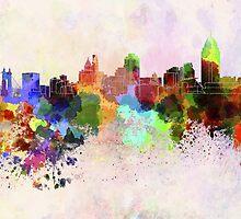 Cincinnati skyline in watercolor background by paulrommer