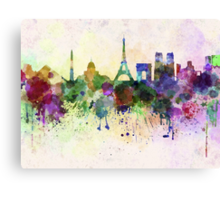 Paris skyline in watercolor background Canvas Print