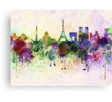 Paris skyline in watercolor background Canvas Print