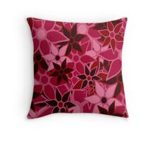 Red Vintage Trendy Floral Pattern Throw Pillow