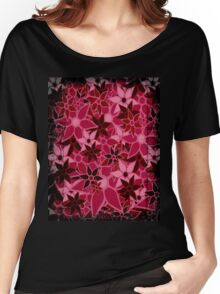 Red Vintage Trendy Floral Pattern Women's Relaxed Fit T-Shirt