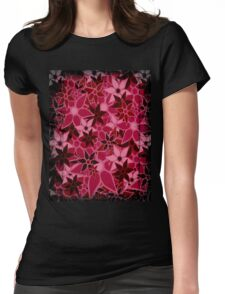 Red Vintage Trendy Floral Pattern Womens Fitted T-Shirt