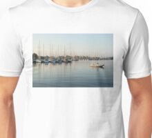 Reflecting on Yachting - Pastel Morning at the Marina Unisex T-Shirt