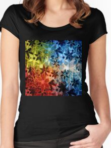 Colorful Vintage Trendy Floral Pattern Women's Fitted Scoop T-Shirt