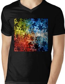 Colorful Vintage Trendy Floral Pattern Mens V-Neck T-Shirt
