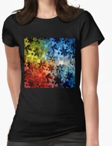 Colorful Vintage Trendy Floral Pattern Womens Fitted T-Shirt