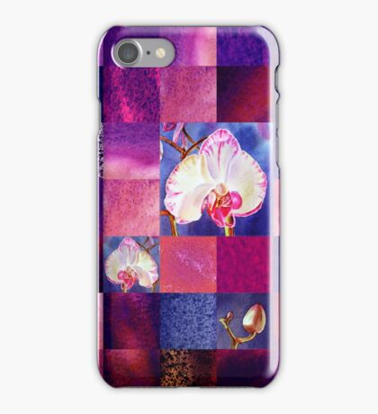 Orchids And Squares Decorative Design iPhone Case/Skin