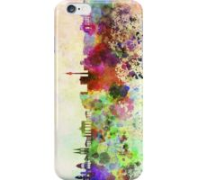 Berlin skyline in watercolor background iPhone Case/Skin