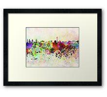 Berlin skyline in watercolor background Framed Print