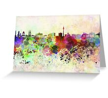 Berlin skyline in watercolor background Greeting Card