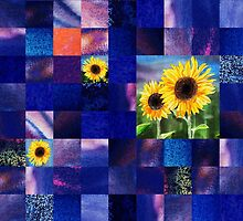 Sunflowers And Squares Decorative Design  by Irina Sztukowski