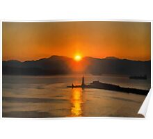 Mount Vesuvius and the lighthouse, bay of Naples at Sunrise Poster