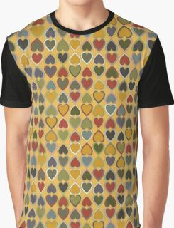 October Hearts on Gold Graphic T-Shirt