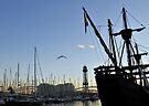 Sailing ship, Dusk, Port of Barcelona, Spain by David Carton