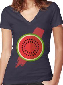 Watermelon Splash Women's Fitted V-Neck T-Shirt