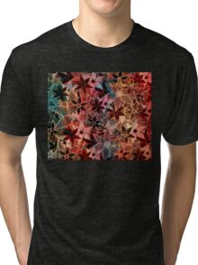 Colorful Vintage Trendy Floral Pattern Tri-blend T-Shirt