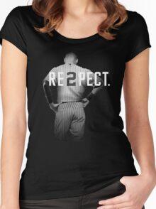 Respect Derek Jeter Re2pect 2 On Back new york uniform MJ baseball Women's Fitted Scoop T-Shirt