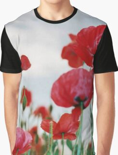 Field of Poppies Against Grey Sky  Graphic T-Shirt