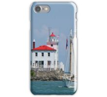 Lighthouse With Tall Ship iPhone Case/Skin