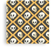 Tiling Skulls 1/4 - Yellow  Canvas Print