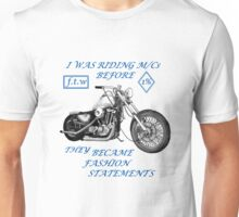 Motorcycle fashion statement  Blue n  Unisex T-Shirt