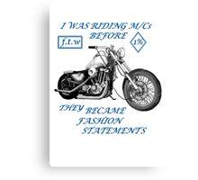 Motorcycle fashion statement  Blue n  Canvas Print