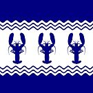 3 Navy Blue And White Coastal Decor Lobsters by BailoutIsland