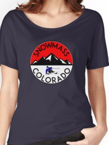 SKI SNOWMASS COLORADO Skiing Ski Mountains Women's Relaxed Fit T-Shirt