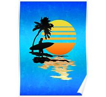 Surfing Sunrise Poster