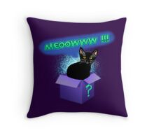 Mystery Cat In The Box Throw Pillow