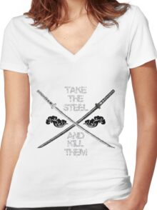 Dual Katana B&W Women's Fitted V-Neck T-Shirt