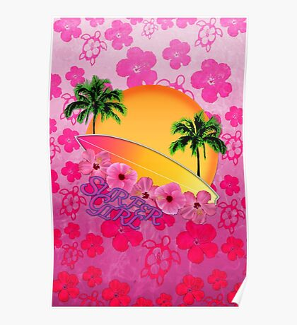 Surfer Girl Pink Hibiscus Poster