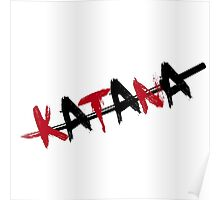 Katana Black and Red Poster