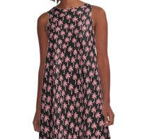Pink Palm Trees on Black Background A-Line Dress