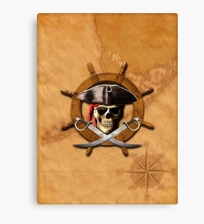 Jolly Roger Pirate Wheel Canvas Print