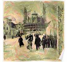 A digital painting of the Trocadero Palace, Seine Bridge, Exposition 1900, Paris, France Poster