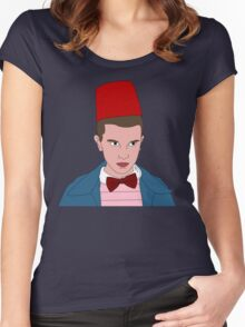 Stranger Things Eleven 11th Doctor Women's Fitted Scoop T-Shirt
